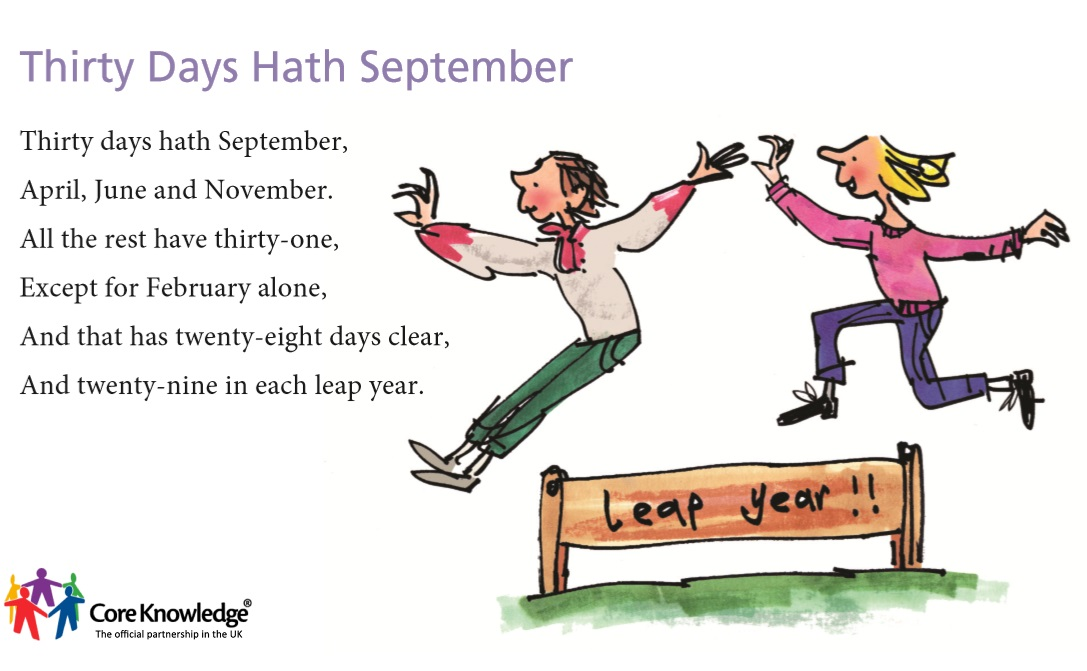 image regarding Thirty Days Hath September Poem Printable known as Main Practical experience United kingdom Graphic Library - 12 months 2 Language and