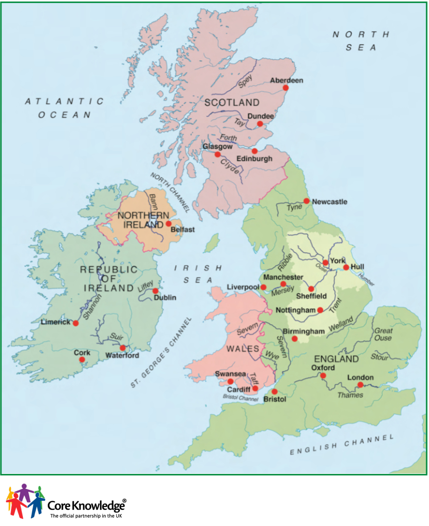 Map Of Uk Rivers And Mountains.Core Knowledge Uk Image Library Year Three