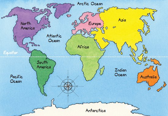 Core Knowledge - World map oceans continents